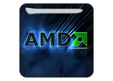 "AMD 3D Blue 1""x1"" Chrome Domed Case Badge / Sticker Logo"