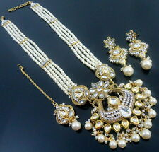 WHITE PEARL GOLD TONE INDIAN TRADITIONAL NECKLACE SET BRIDAL RANI HAAR JEWELRY