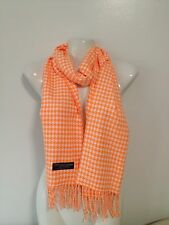 CASHMERE SCARF HOUNDSTOOTH DESIGN ORANGE COLOR SUPER SOFT