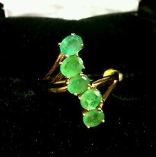 Kagem Zambian EMERALD 5 Stone JOURNEY RING in 14K YG / Sterling Silver 1.75 Cts