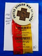 1920 Spanish American War Veterans 21st Annual Encampment Guest Pin Ribbon
