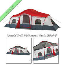 Ozark Trail Cabin Tent 10 Person Large Family Outdoor Camping Tents, 3 Rm 20x10'