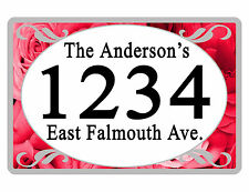 Personalized ADDRESS Sign YOUR NAME Weather Proof Aluminum SIGN FULL COLOR Roses