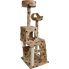 "52"" Cat Kitty Tree Tower Condo Furniture Scratch Post Pet House Toy Beige Paws"