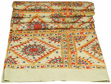 XL Embroidered Handmade King Bedspread Mirror Work Coverlet Cotton Quilt INDIAN