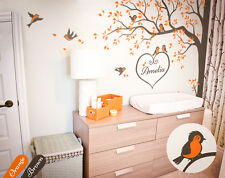 Nursery corner tree wall decal with cute birds and personalized baby name - KW06