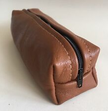 Leather Pencil Case, Leather makeup Bag, Cosmetic case, Genuine tan leather