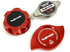 VMS RACING OIL CAP + RADIATOR CAP + BILLET COVER RED MITSUBISHI B