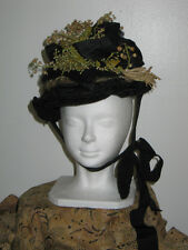 Antique Victorian 1800s Spoon Bonnet Hat Silk Straw-LILY OF THE VALLEY Flowers