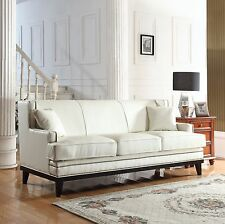Modern Soft Bonded Leather with Nailhead Trim Details - White