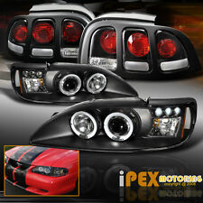 New 1996-1998 Ford Mustang Dual Halo Projector LED Headlights + Black Tail Light