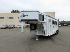 NO RESERVE 2014 TRIPLE C LIVING QUARTERS 3 HORSE SLANT TRAILER NEVER USED
