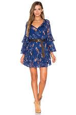 Free People Sunsetter Floral Print Chiffon Ruffle Mini Dress Blue M