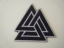 VALKNUT PATCH Embroidered Iron On Badge TRIGON ODIN VIKING PAGAN SYMBOL NEW