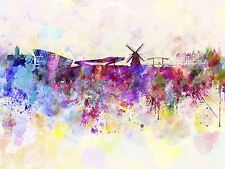 PAINTING ABSTRACT CITYSCAPE AMSTERDAM NETHERLANDS PAINT SPLASH POSTER BMP10721