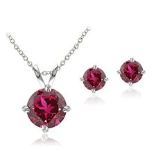 925 Silver 2.8ct Created Ruby Solitaire Necklace & Stud Earring Set