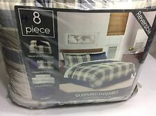 KENNEDY Reversible Multi-Color 100% Polyester 4-PC QUEEN COMFORTER