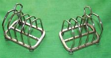 Pair (2) Victorian Silver Plated GothicToast Letter Racks with Ball Feet