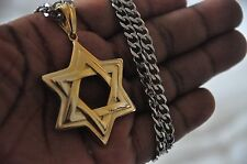 24K Gold Plated Star Of David Pendant Jewish Charm 30cm Stainless Steel Chain