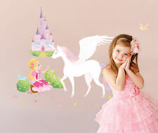 Princess Unicorn in Castle Removable Decal Wall Sticker Home Decor Nursery K87