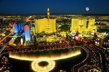 LAS VEGAS SKYLINE POSTER 24x36 - AERIAL HOTELS LIGHTS FOUNTAIN 36618