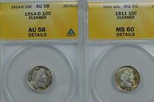 Anacs certified Barber Dime duo: 1911 Ms60 Detail, Cleaned Lot 218