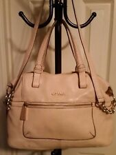 CALVIN KLEIN BEIGE LEATHER SATCHEL DESIGNER HANDBAG TOTE CROSSBODY DOCTOR BAG