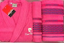 Pierre Cardin L/XL 4 pezzi Accappatoio Asciugamano Set Rosso Ciliegia Rosa Royal Blu 100% COTONE