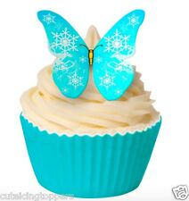 12 PRE CUT FROZEN EDIBLE RICE WAFER PAPER BUTTERFLY SNOWFLAKE CUPCAKE TOPPERS