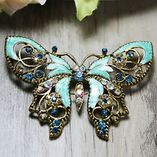 Vintage BLUE Butterfly Wedding Bridal Party Rhinestone Crystal Pin Brooch Craft