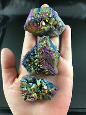 Lot of 3 Titanium Rainbow Aura Flame Amethyst Quartz Healing Crystal Cluster Gem