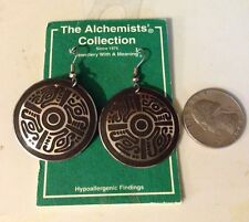 Alchemists Symbols Loop Earrings Hypoallergenic Quetzal Cross Jewelry