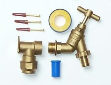 25mm MDPE Outside Tap Kit  | With 3/4 Inch Tap and Brass Wall Mounting Plate