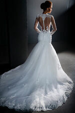 New Mermaid White/ivory Wedding dress Bridal Gown custom size 6-8-10-12-14-16