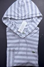 NWT Lacoste Men's Lightweight White/Gray Striped Cotton Hoodie Shirt M Eur 5
