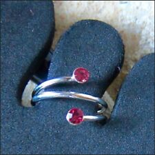 TOE RING STERLING SILVER 925 ADJUSTABLE SOLID BAND DESIGN PINK STONE WOMEN MIDI