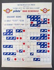 scarce 1969 Metropolitan Press SEATTLE PILOTS Schedule Near Mint unused