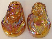 CARNIVAL GLASS IRIDESCENT MARIGOLD JESUS & VIRGIN MARY WALL HANGINGS / PLAQUES