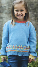 KNITTING PATTERN Childrens Fair Isle Patterned Jumper Sweater Sirdar PATTERN