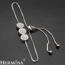 Hermosa® New 925 Sterling Silver White Topaz. Adjustable Pull-Tie Bracelet 3-9""