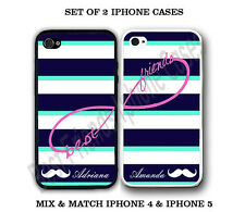 Custom Mint Stripe Mustache BFF Best Friends 2 PHONE Cases For iPhone 6 6S 5S 5C