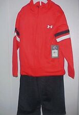 Under Armour 2 Pc. Jacket & Pants Size 4 Red & Black NEW All Season Gear