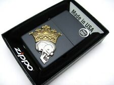ZIPPO Full Size Black Matte Crowned SKULL EMBLEM Windproof Lighter! 29100
