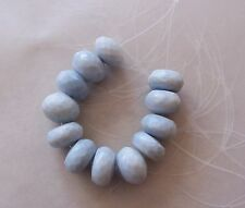 12 Oregon Owyhee Blue Opal Gemstone Faceted Chunky Rondelle Beads 9.5mm-10mm