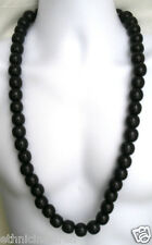 "ETHNIC INSPIRED: MENS EXTRA CHUNKY 18MM BLACK WOOD BEADS 34"" VERY LONG NECKLACE"