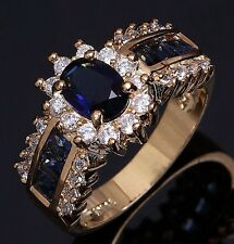 Women's Size 9 Blue Sapphire Halo 18K Gold Filled Rare Fashion Engagement Ring