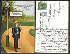 1909 Wisconsin Postcard - Milwaukee - Sign to Boat House, Humboldt Park