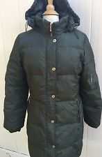 ANNE KLEIN AK Down Puffer Coat Olive Green 3/4 Length Hood Women's Large