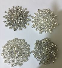 wholesale joblot 4 X Large. sparkly silver diamante brooches bouquet Bridal Prom