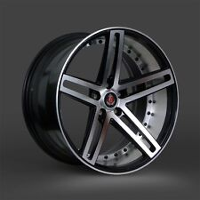 20x8.5 & 20x10 Lenso - Axe EX20 Black Machine Mirror Lip 2pc Staggered Wheel 20""